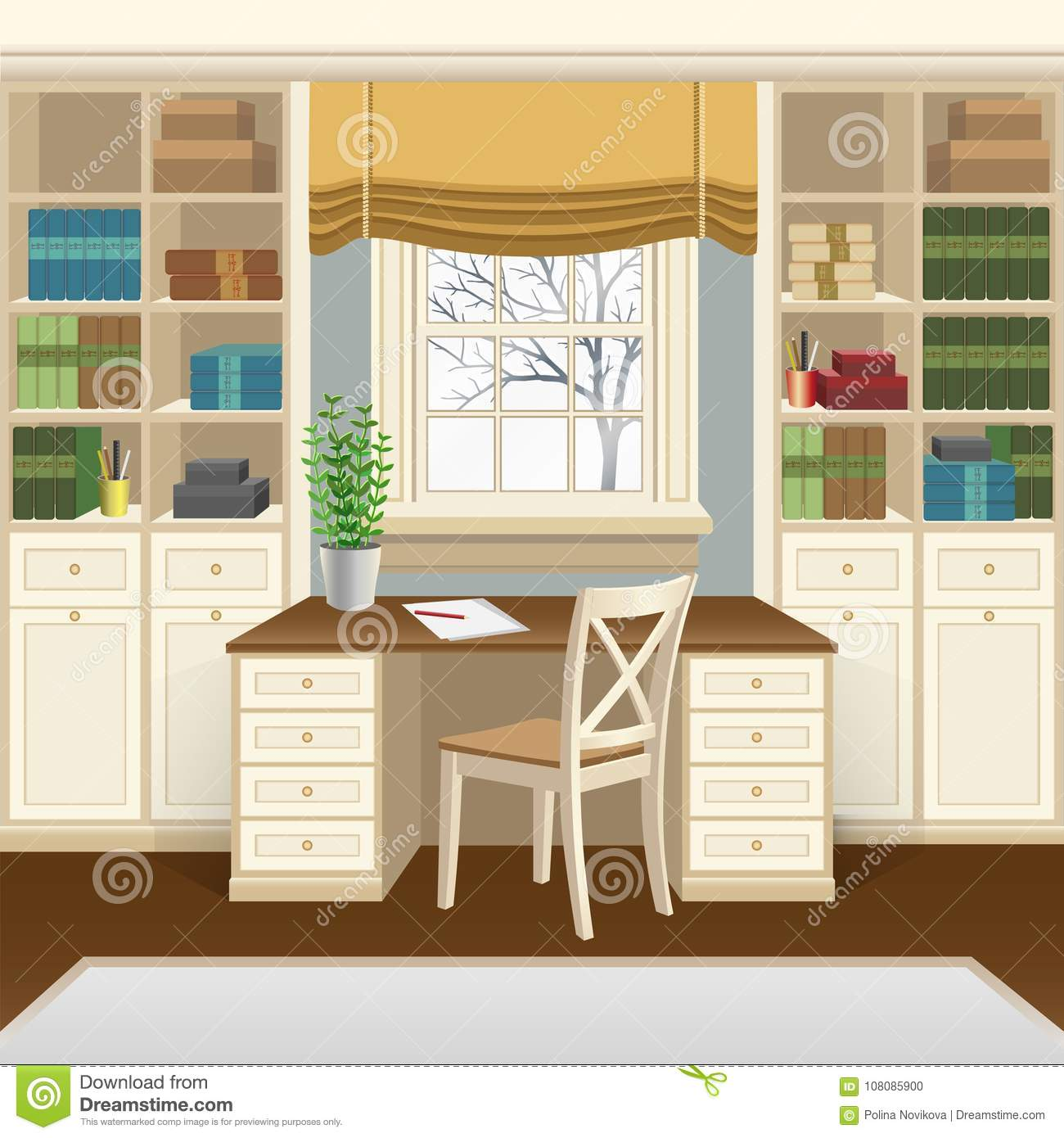Study Room At Home: Home Office Or Study Room Interior With Table Below The