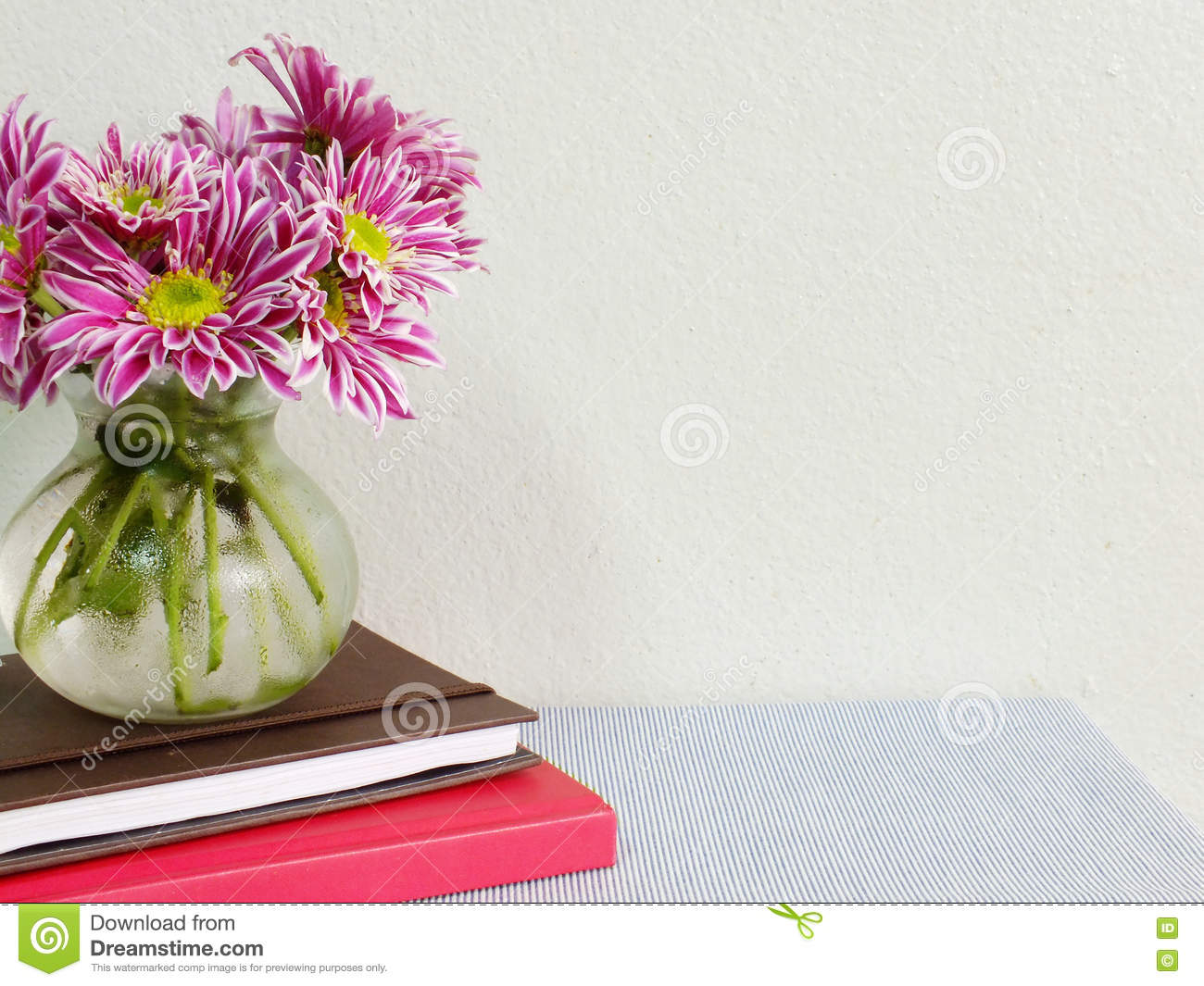 Home office table with stationary and beautiful flower vase with home office table with stationary and beautiful flower vase with copy space background izmirmasajfo