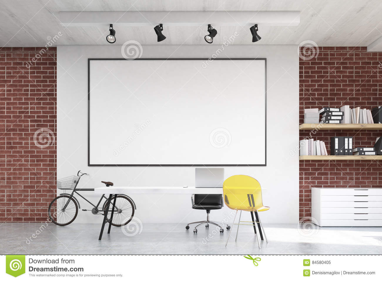 home office whiteboard. Download Home Office With Yellow Chair And Whiteboard Stock Illustration - Of Apartment, Design I