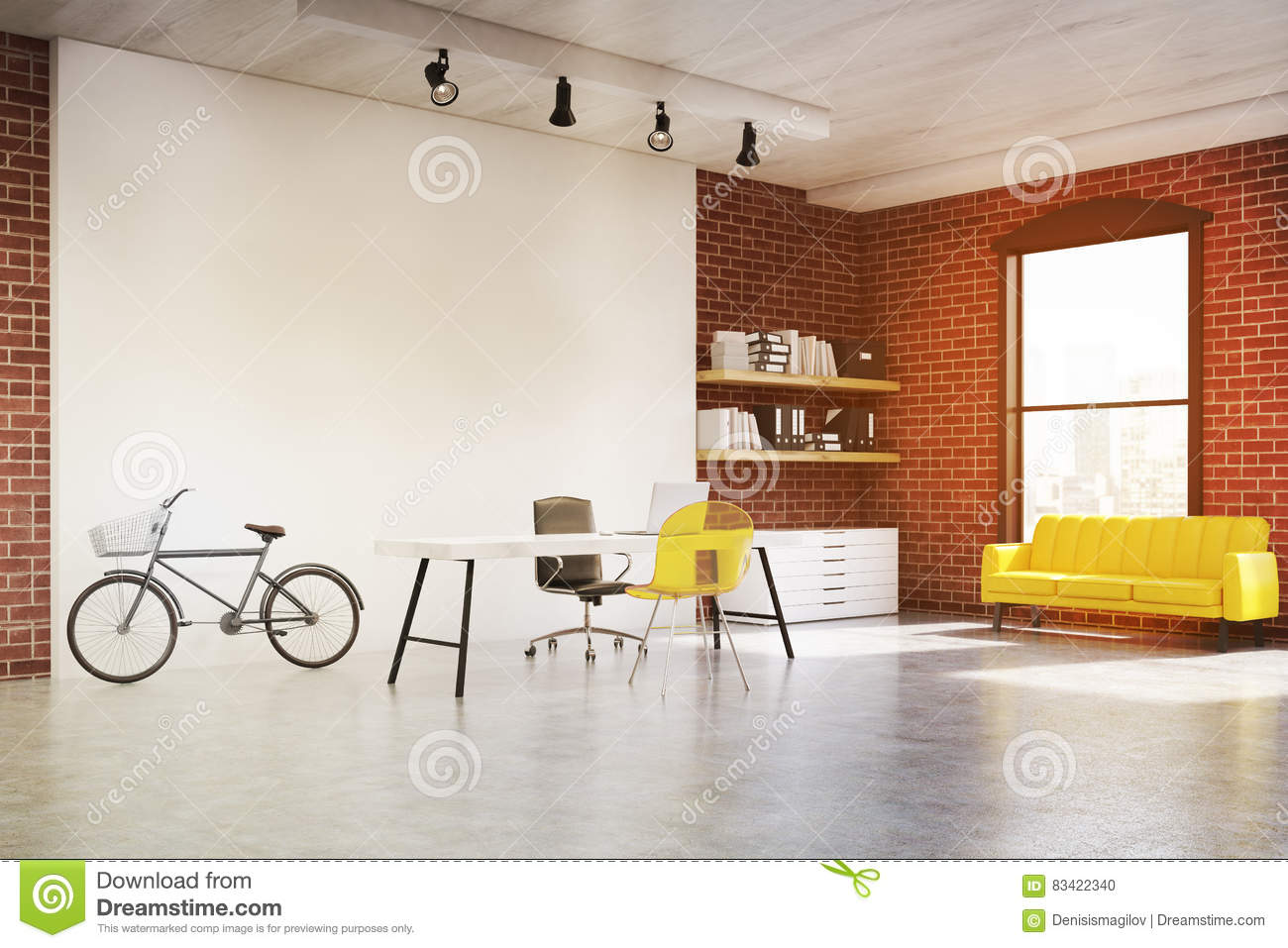 home office sofa. Home Office With Yellow Sofa, Toned Sofa