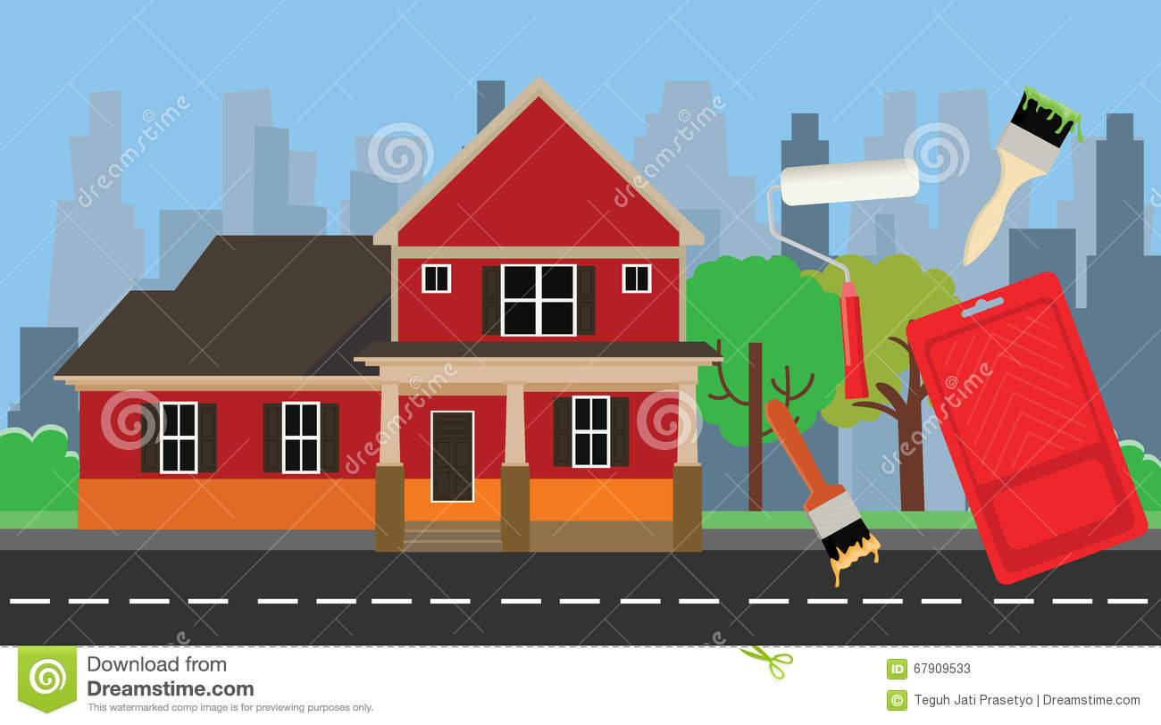 home paint painting with house and color tools stock vector