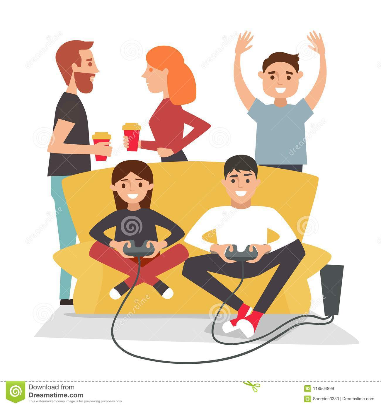 Home party. People play video games and have fun.