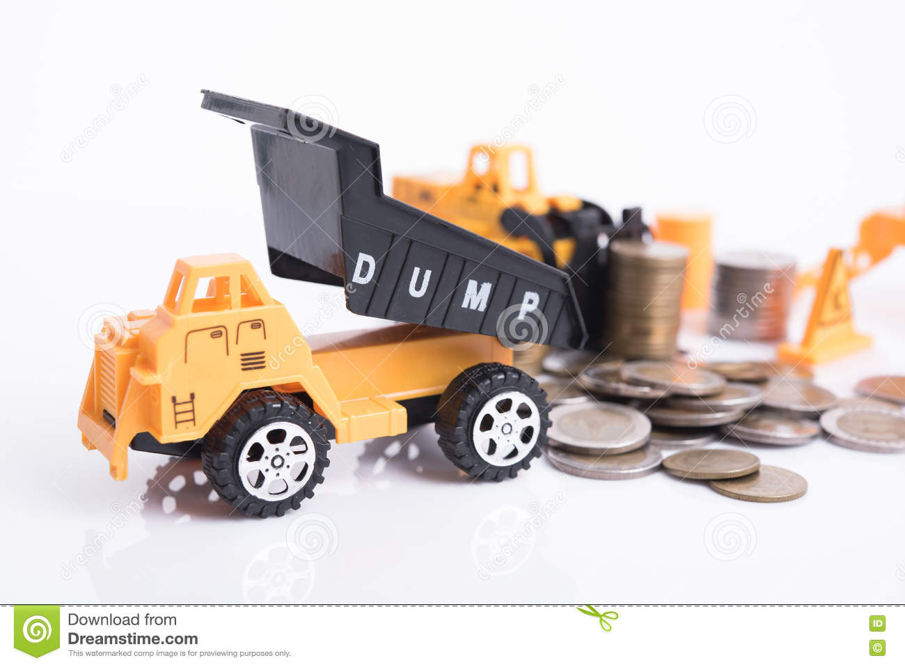 Home with pile coin money and business construction industry