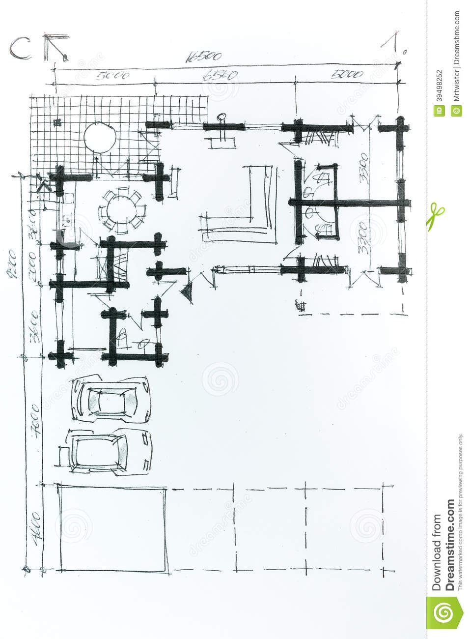 Drawing of home plan stock photography for House sketch plan
