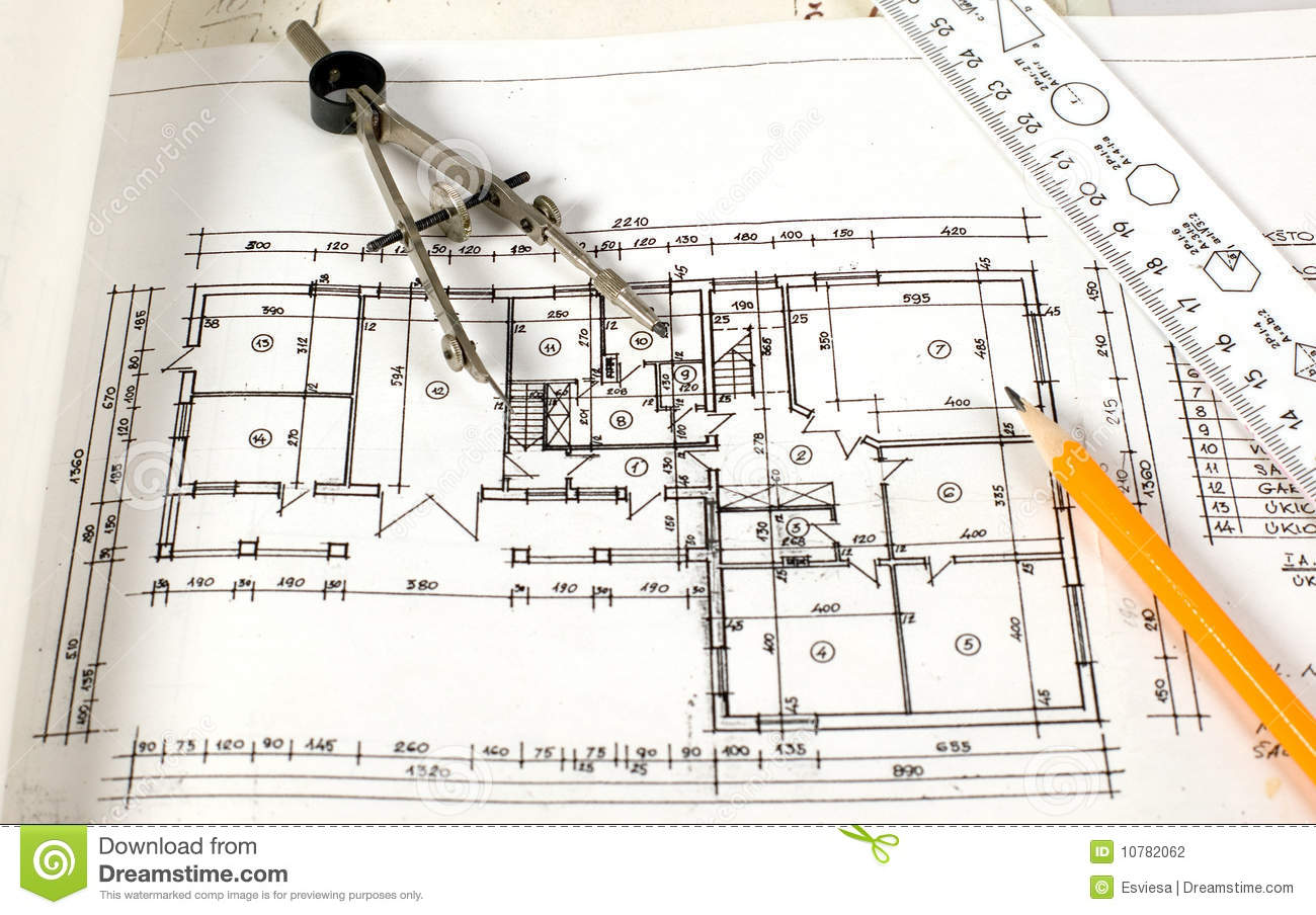 Home plan with drawing tools stock photography image 10782062 House plan drawing tool