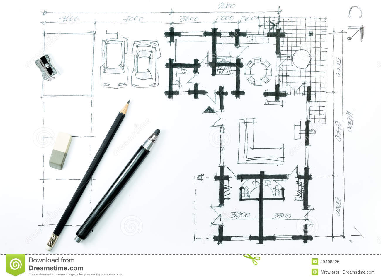 Home Plan Sketch And Drawing Tools Stock Illustration Image 39498825