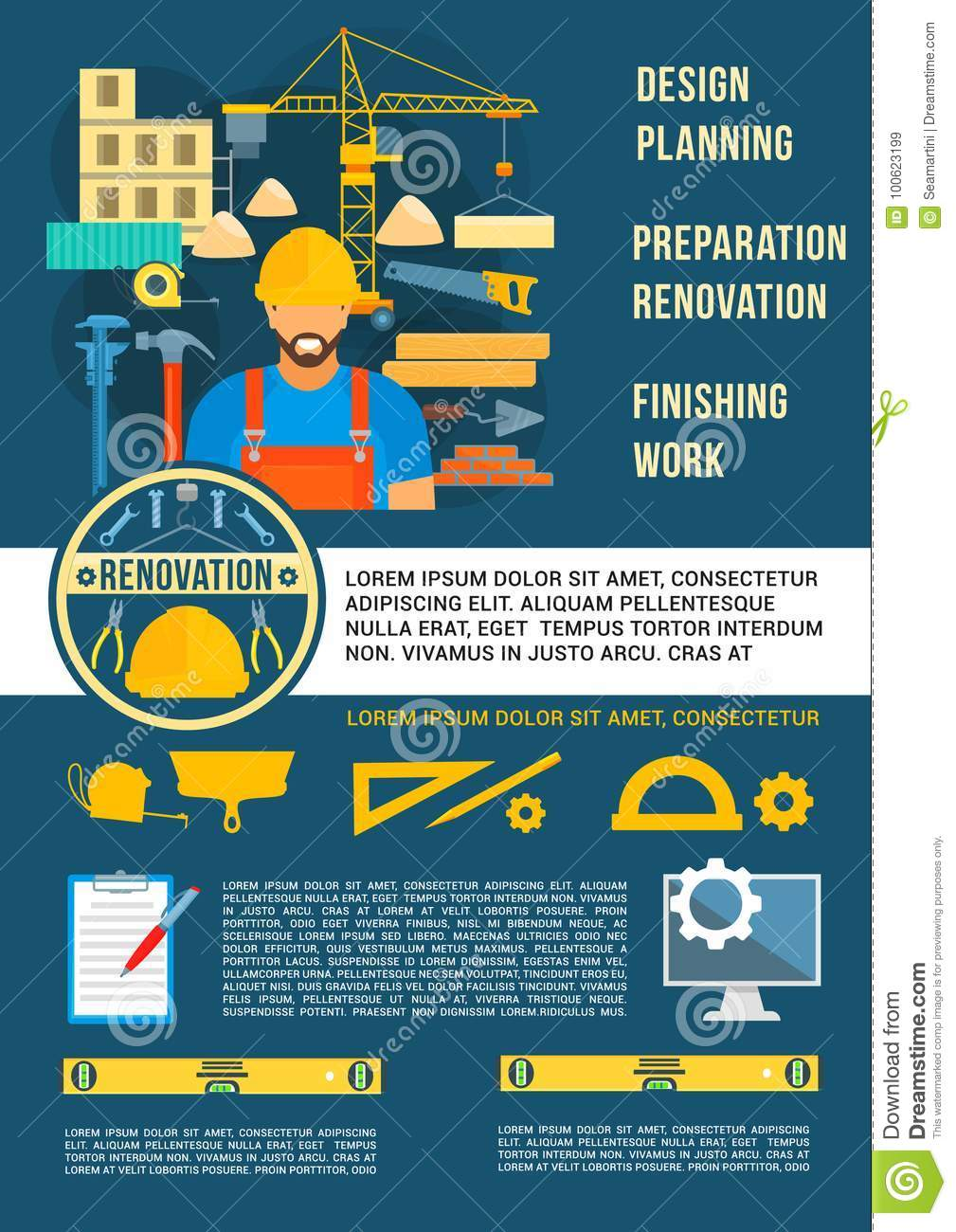 Home planning design and house construction poster vector design of engineering and interior designing work tools and building engineer with ruler