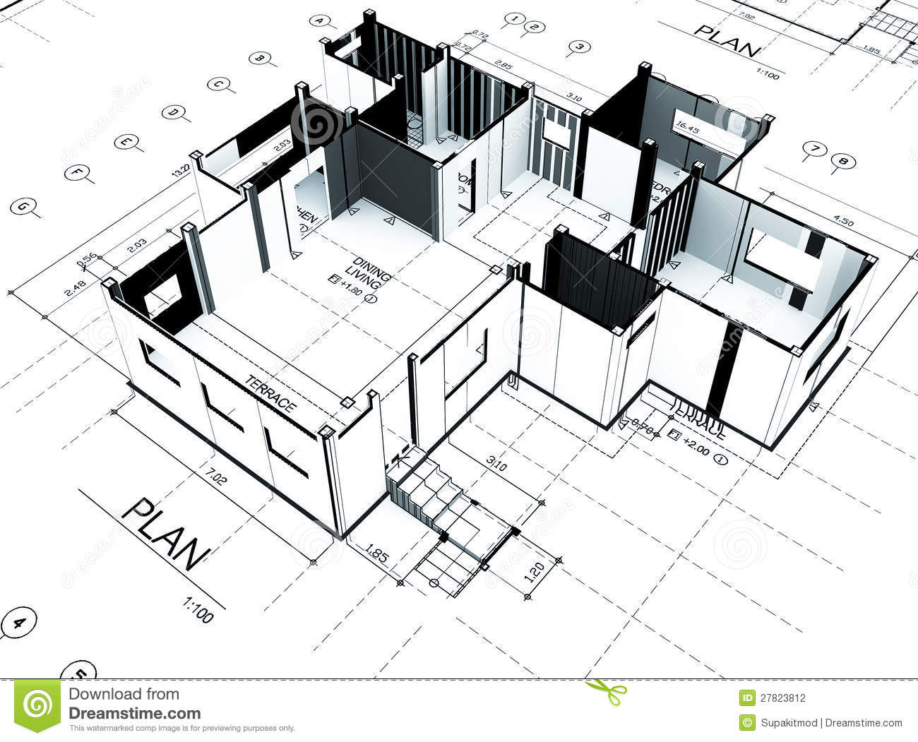 Home plot plan stock photography image 27823812 for Plot plan drawing