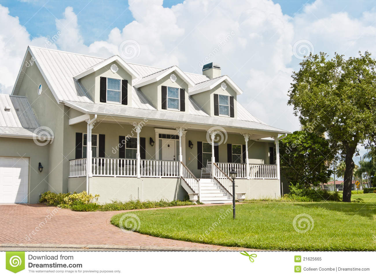 Home With Porch And Dormer Windows Royalty Free Stock