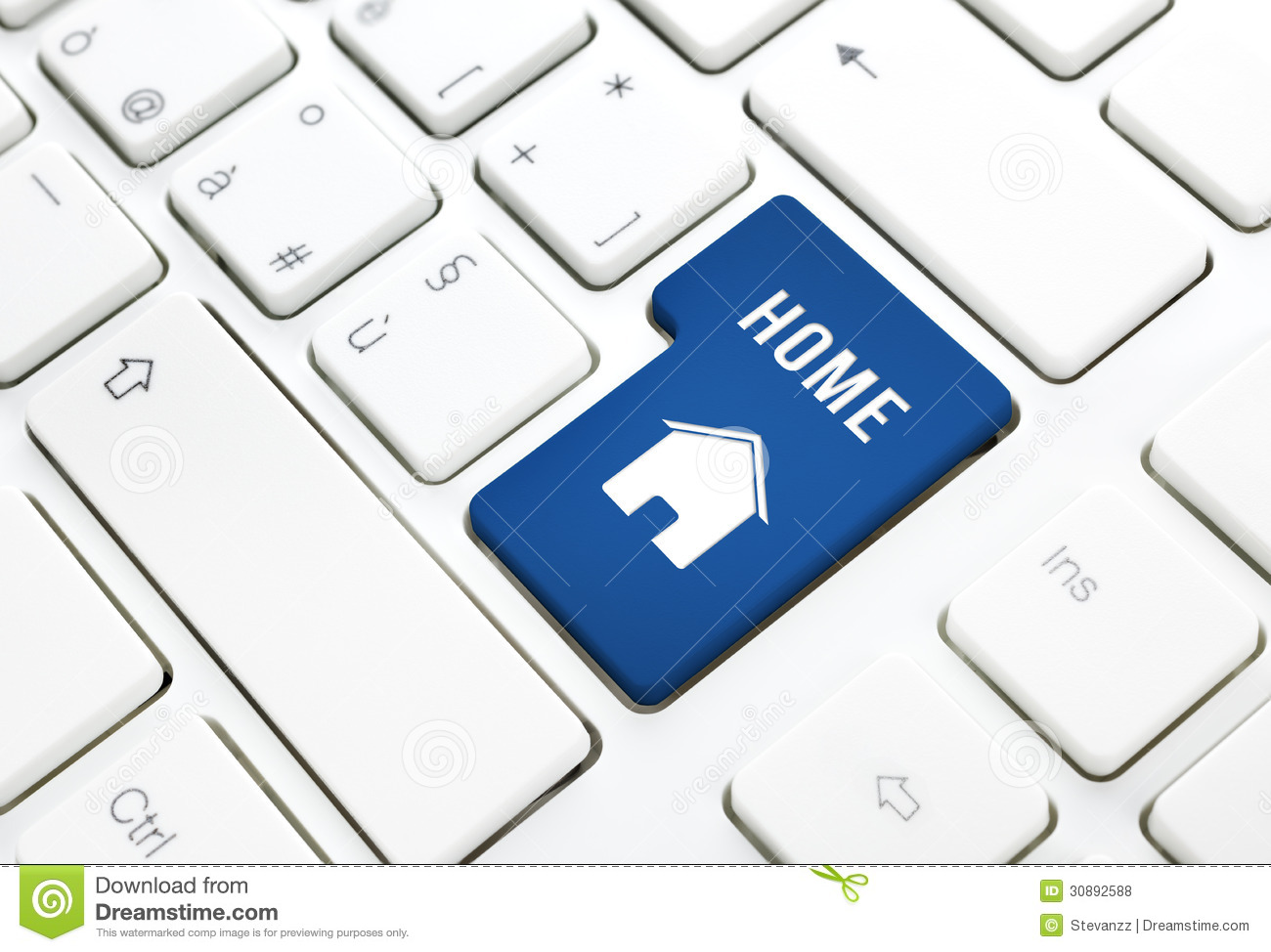 Home or real estate concept, blue house enter button or key on a keyboard