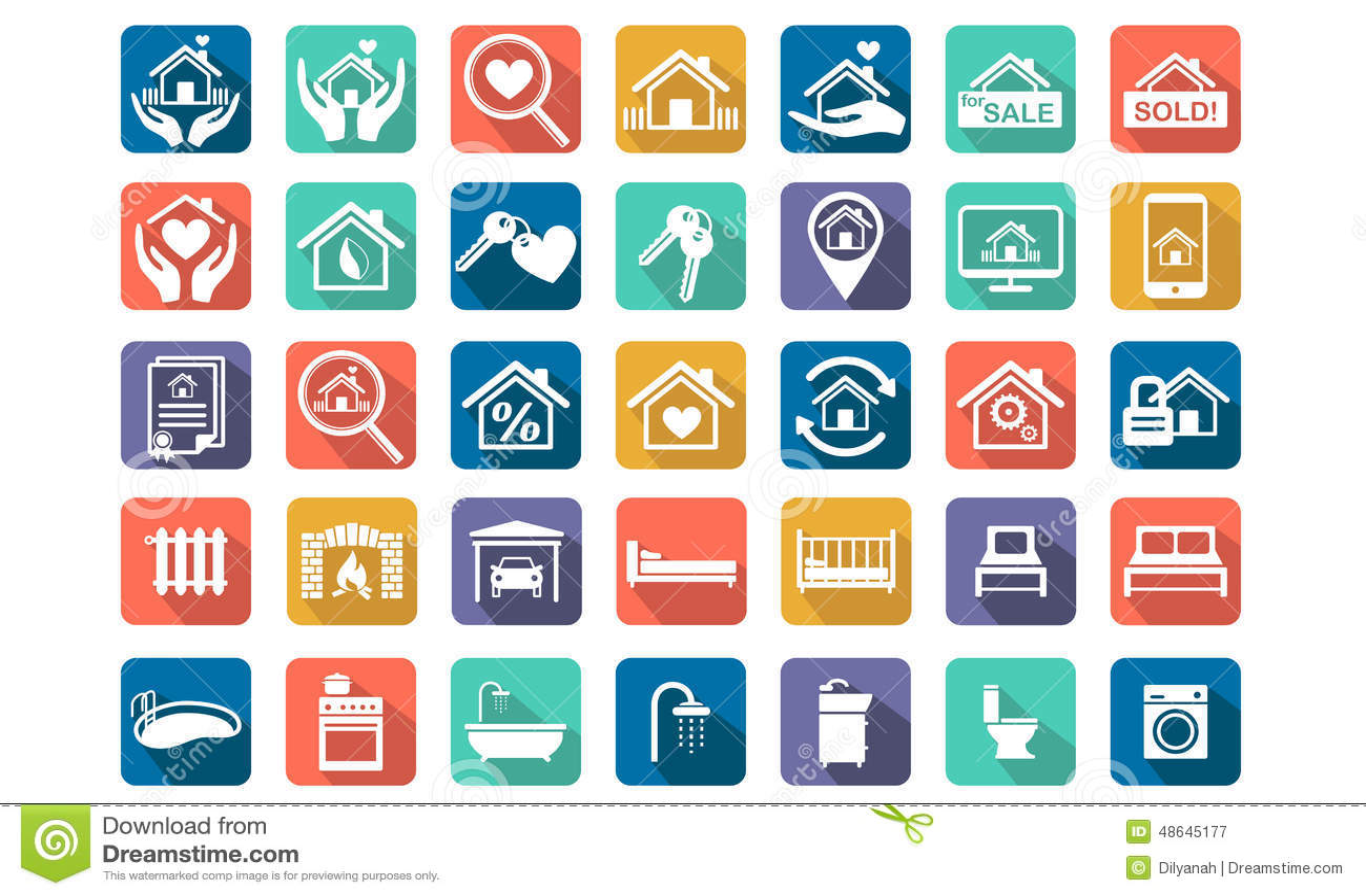 Real Estate Icon Set Cartoon Vector