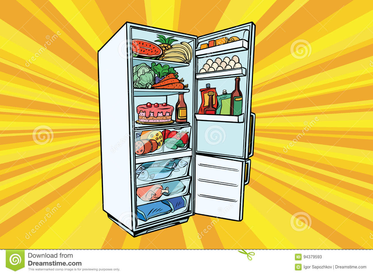 Home Refrigerator Filled With Food Stock Vector Image