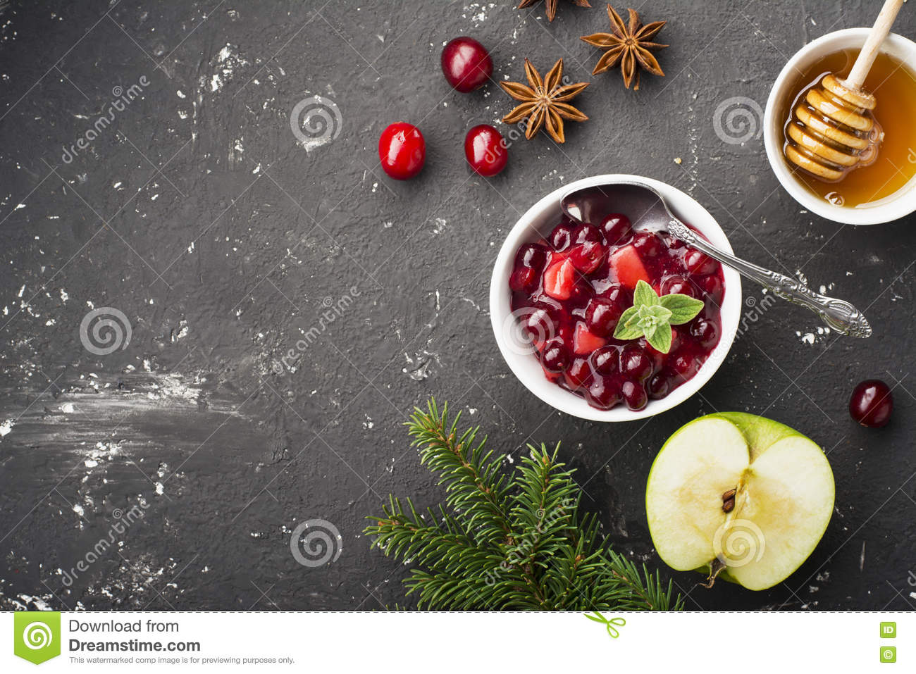 Home Relish sauce of apples and cranberries for submission to various dishes the family dinner. The concept the