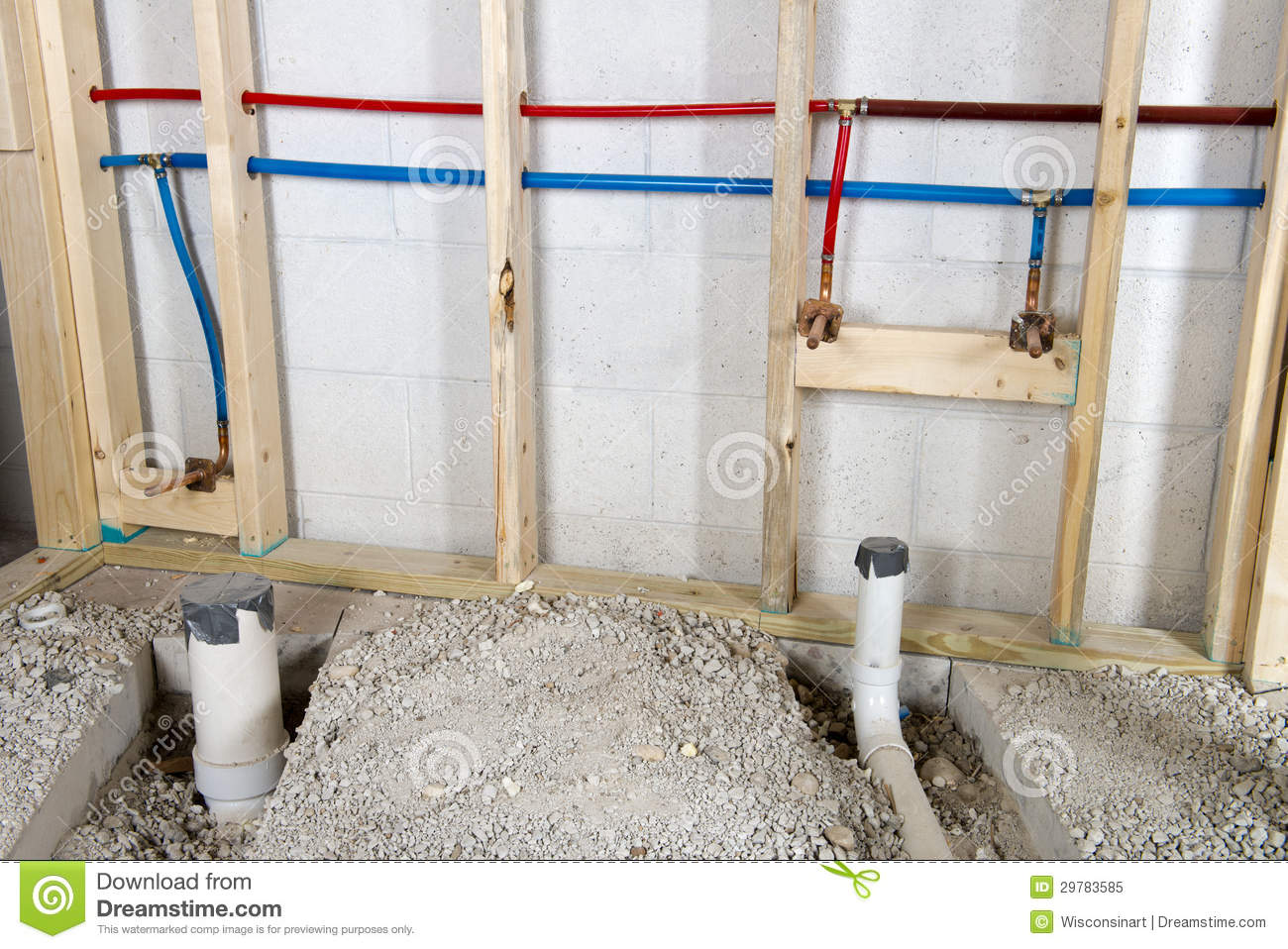 Hot And Cold Running Water Plumbing Pipes Stock Image