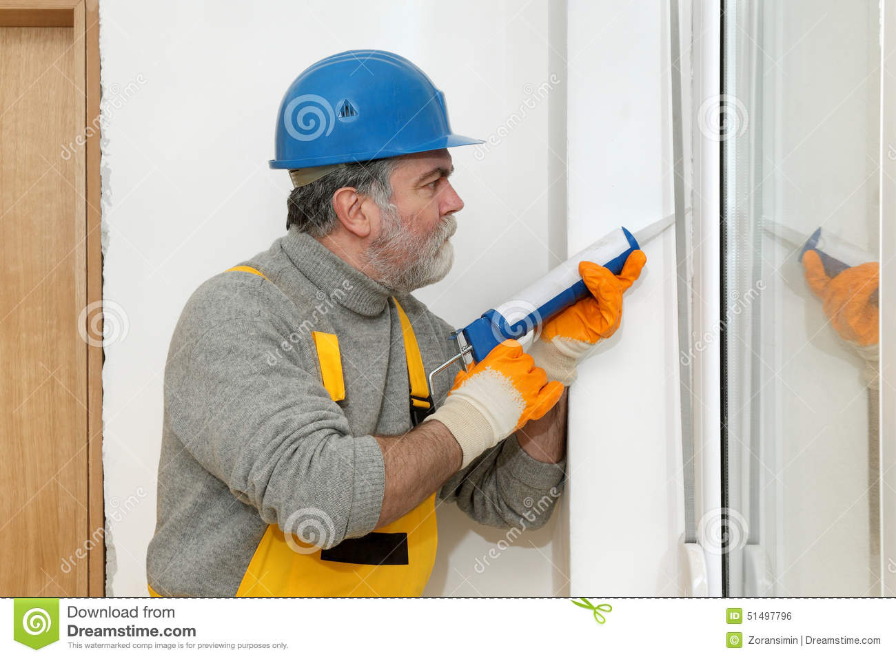 Home Renovation Caulking With Silicone Stock Photo