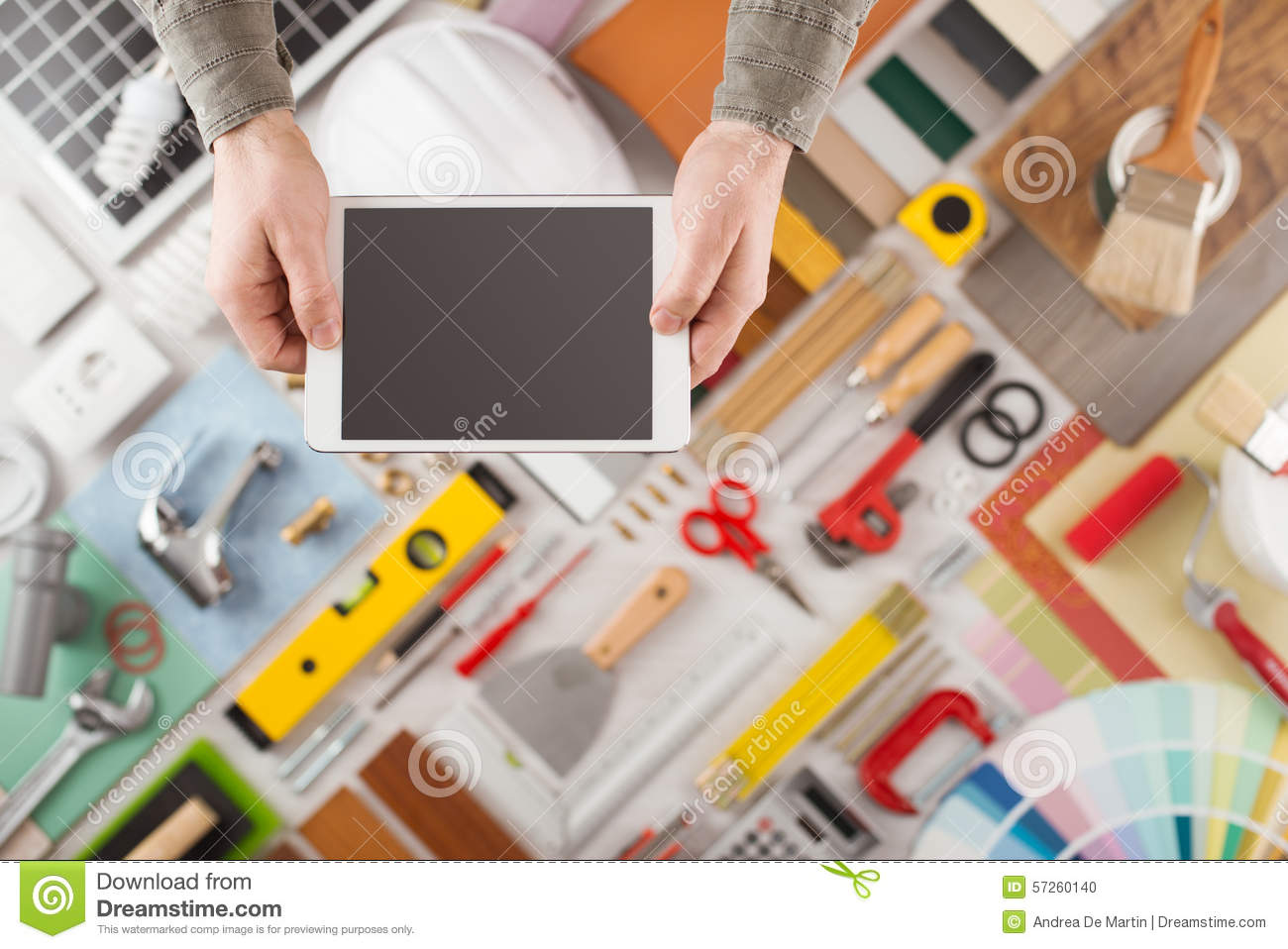 Home renovation and diy app on mobile device stock photo for House construction app