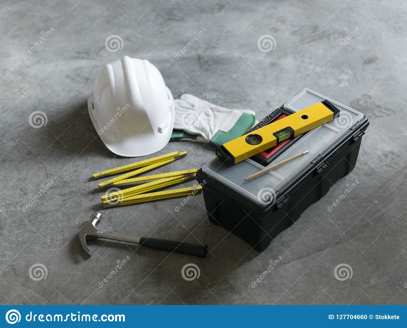 Home renovation and DIY tools still life