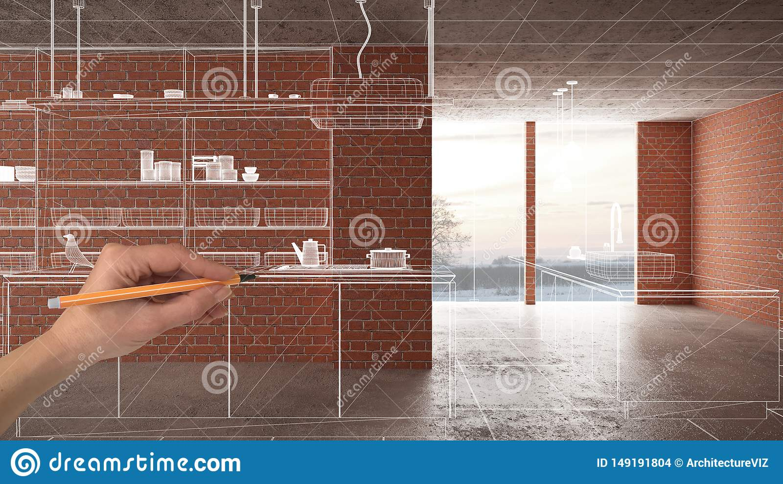 Home renovation, house development concept background, interior design under construction with hand drawing custom architecture,