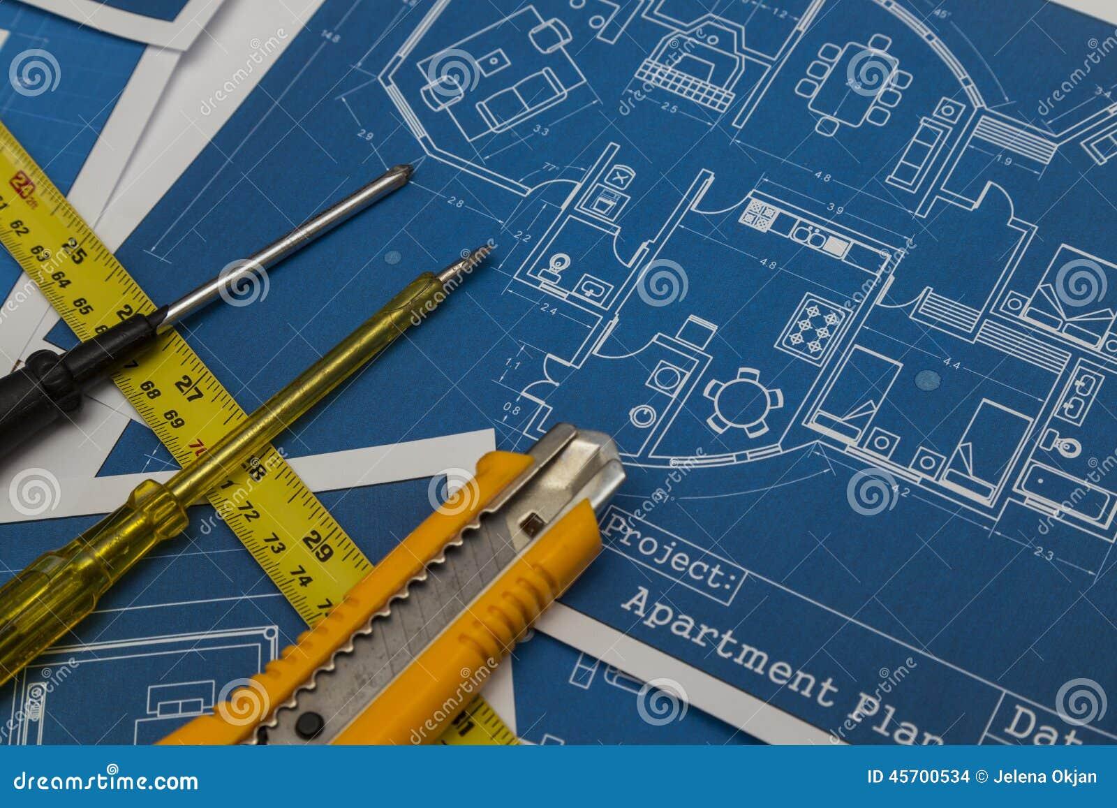 Home renovation plan stock photo image of draft drawing for Renovation drawings