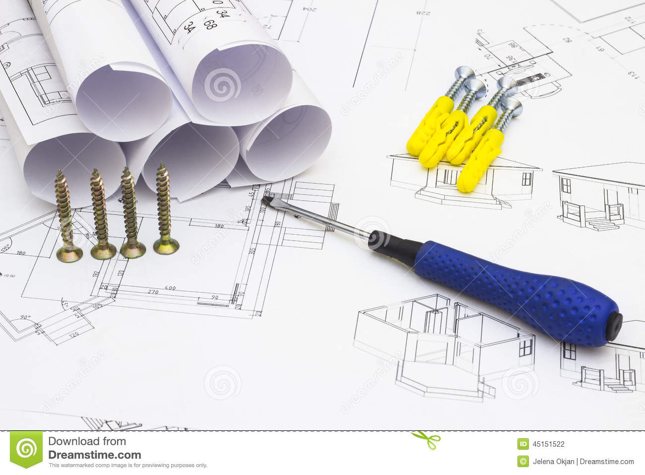 Home renovation plans and tools stock photo image 45151522 for Renovation drawings