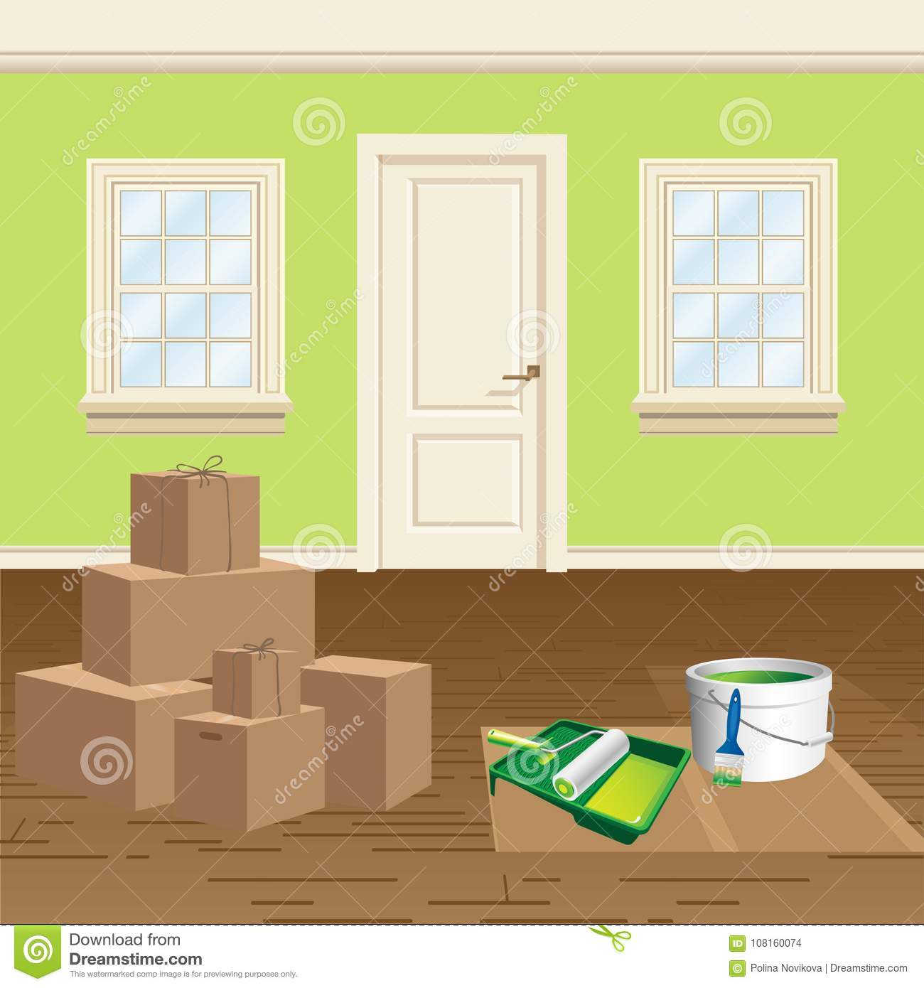 Home renovation and repainting, move into a new home vector illustration.