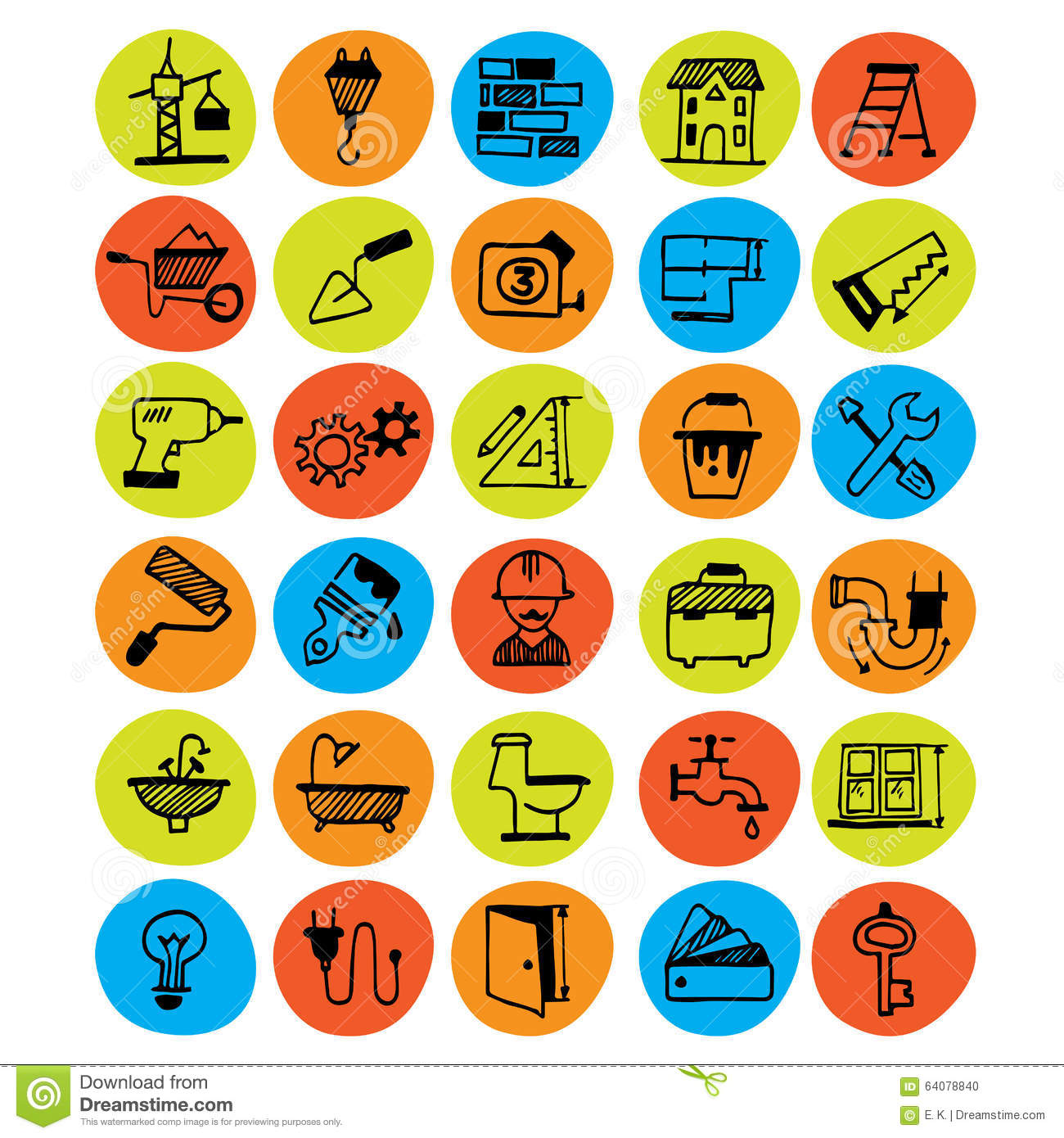 Home renovation symbols stock vector illustration of brick 64078830 home renovation symbols stock photo buycottarizona Image collections