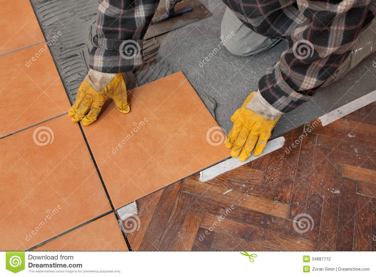 Floor Tile Workers : Home renovation tiles stock photography image