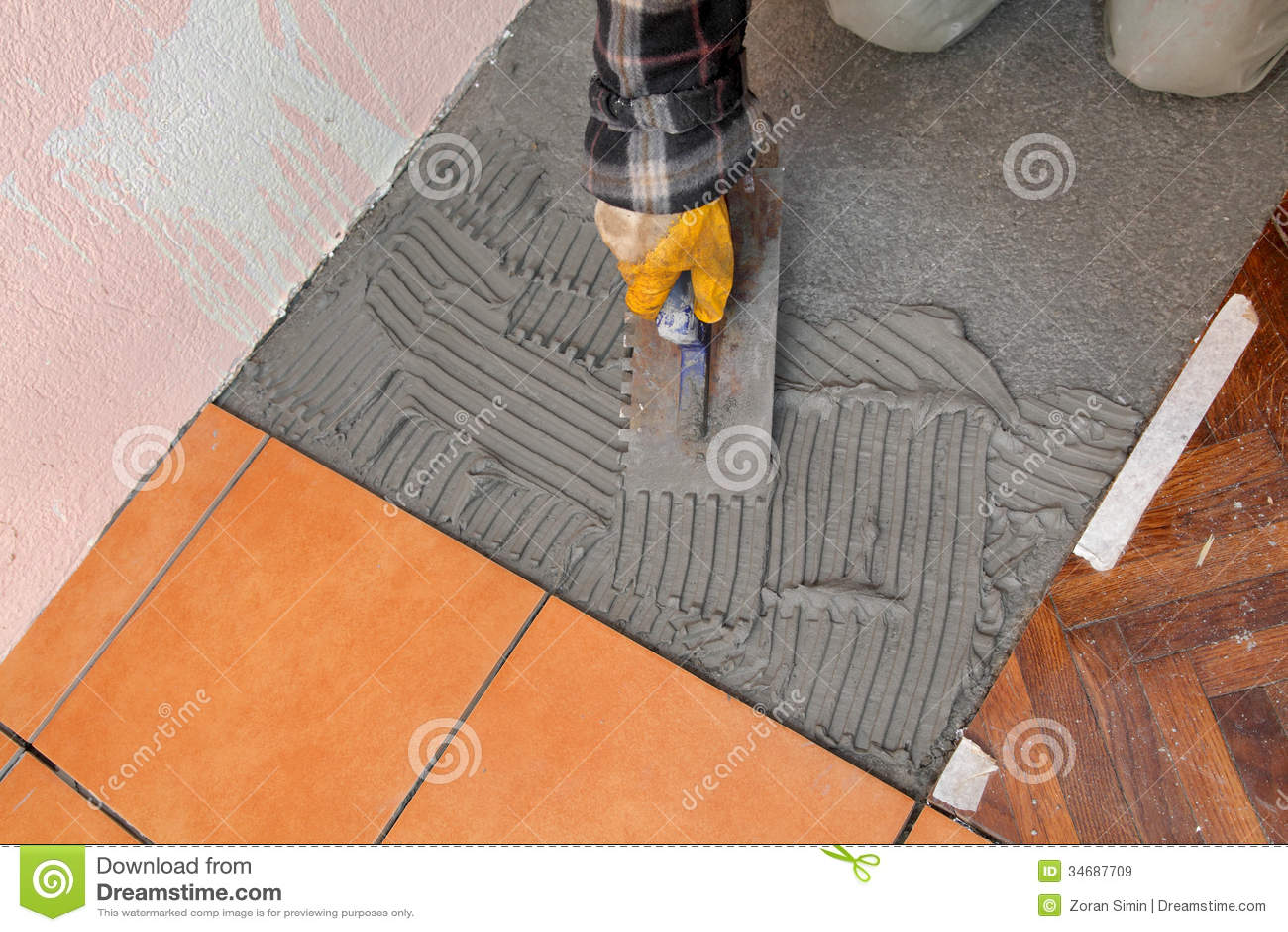 Home Renovation Tiles Stock Image Image Of Labor Placing 34687709