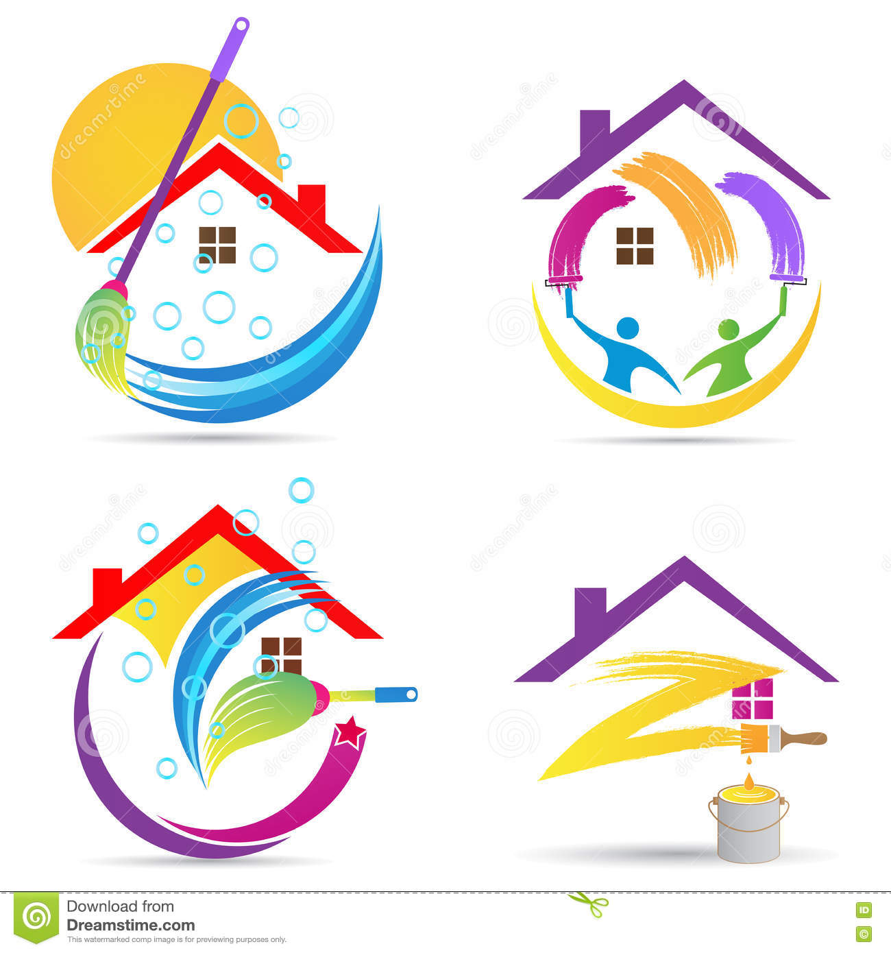 Home cleaning service logo house renovation painting maintenance improvement vector symbol icon design.