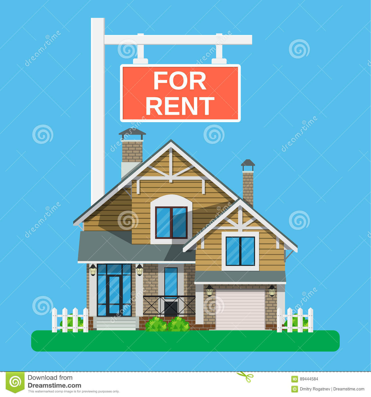 Website For Houses For Rent: Home For Rent Icon. Real Estate Concept, Stock Vector
