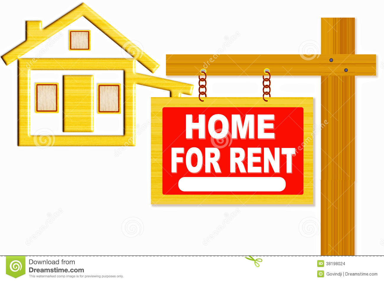 Home For Rent Sign Board With Post And Home Icon Design