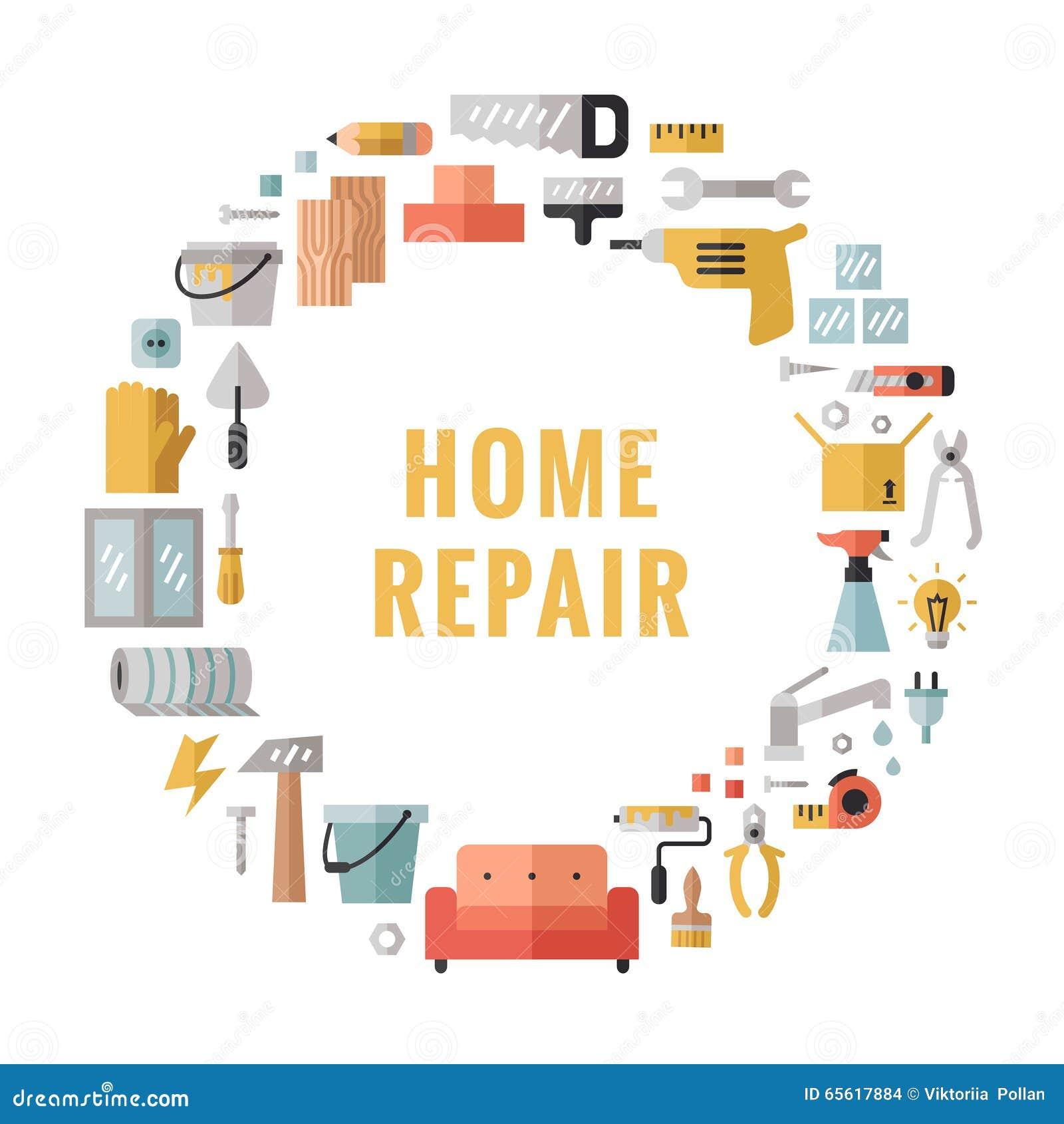 Home Repair Icons Flat Cartoon Vector