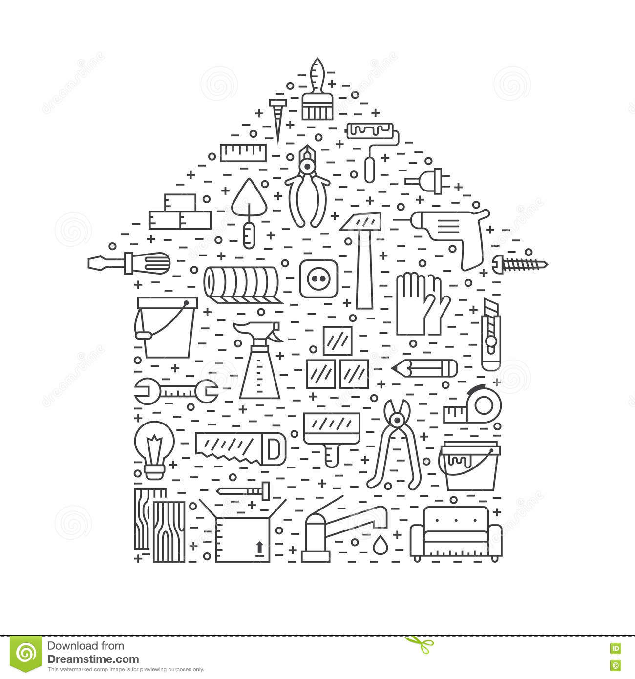 House outline picture - Home Repair And Construction Outline Gray Vector Background Simple Design House Shape Poster