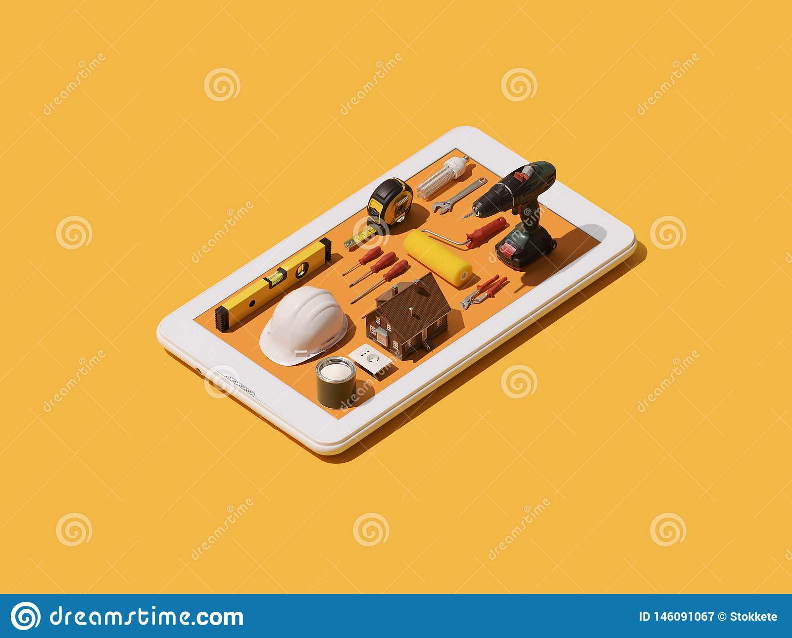 Home repair and DIY app stock illustration. Illustration ...