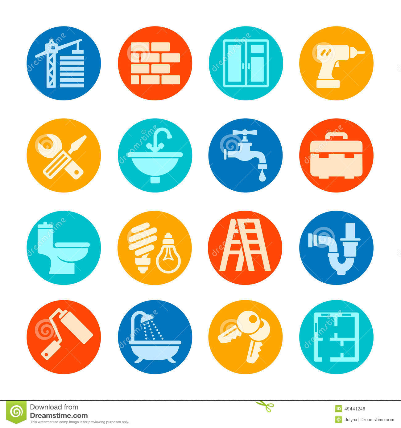 Home Repair Icon Collection Stock Vector Image 49441248