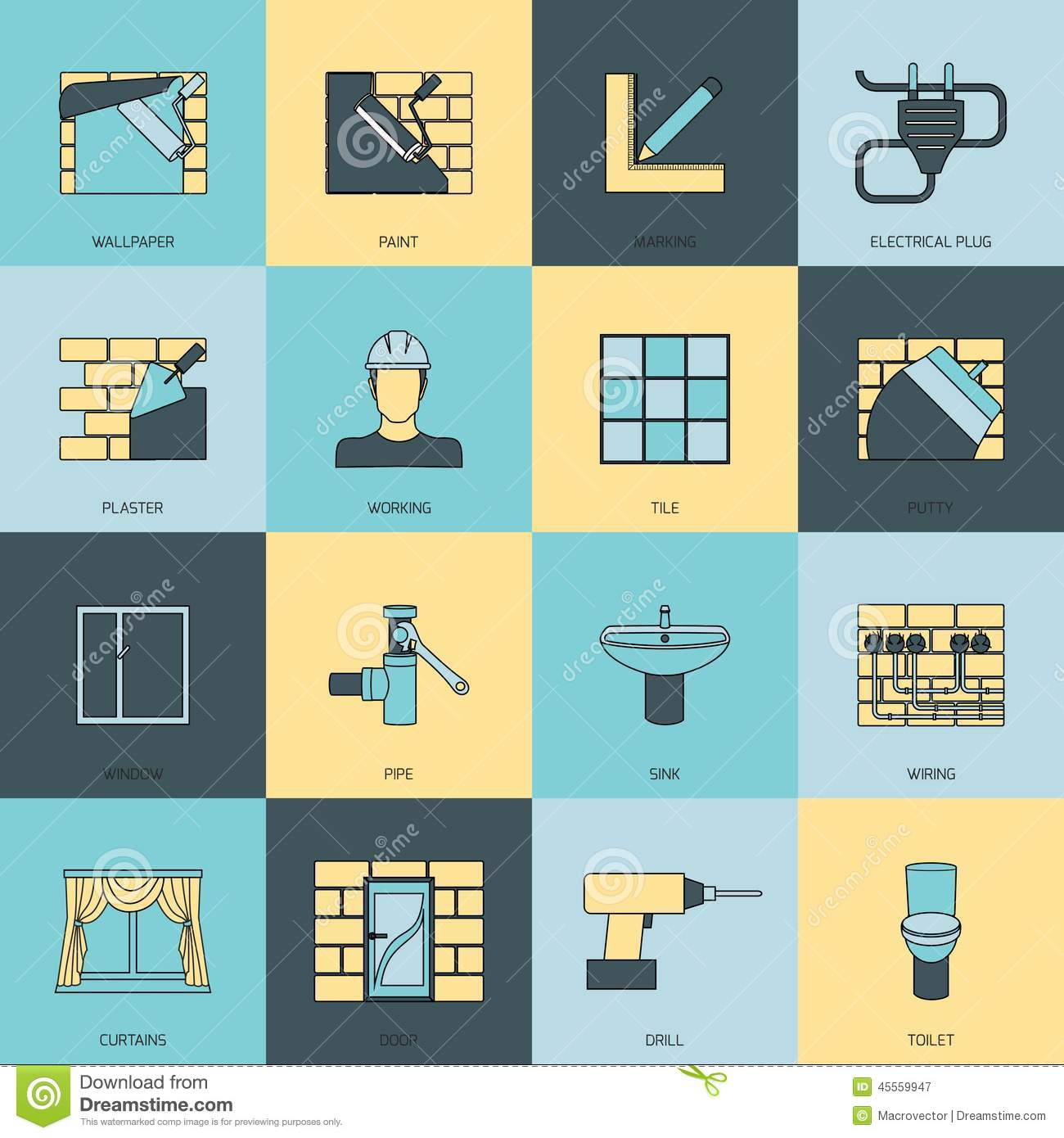 Home repair icons flat cartoon vector for Wallpaper home improvement questions