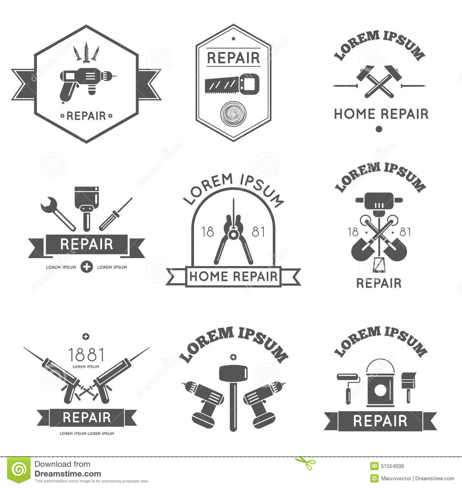 home repair tools labels flat stock vector