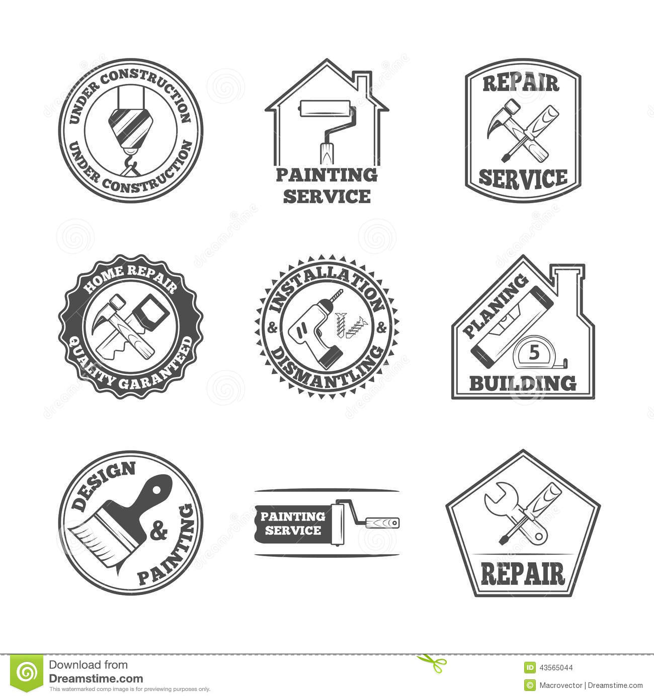 home repair tools labels icons stock vector image 43565044
