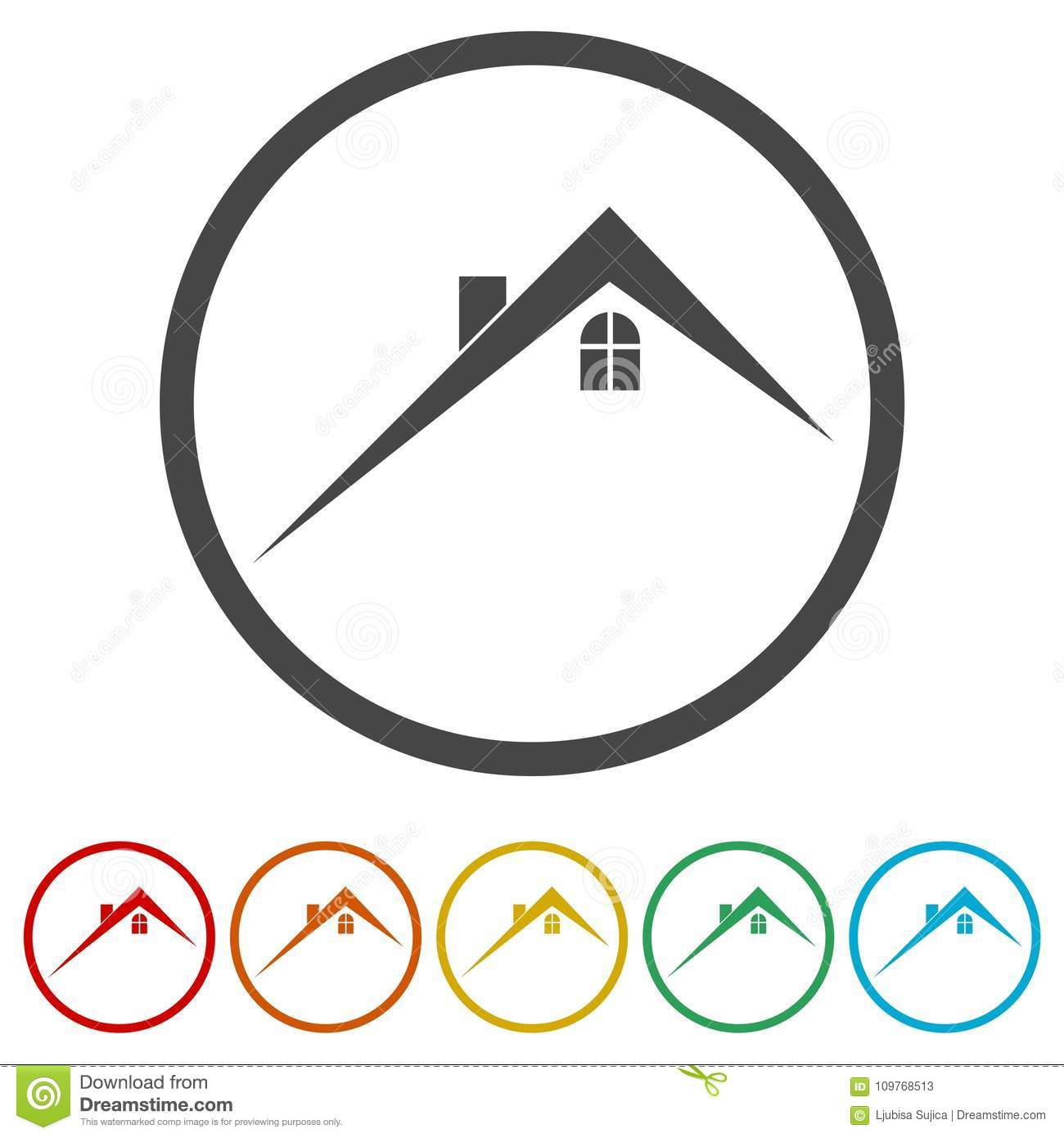 Home Roof Icon Real Estate Symbol 6 Colors Included Stock Vector