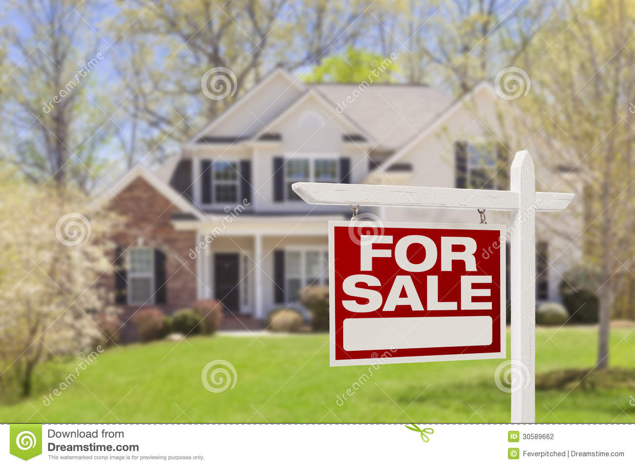 home for sale real estate sign and house stock photo image of