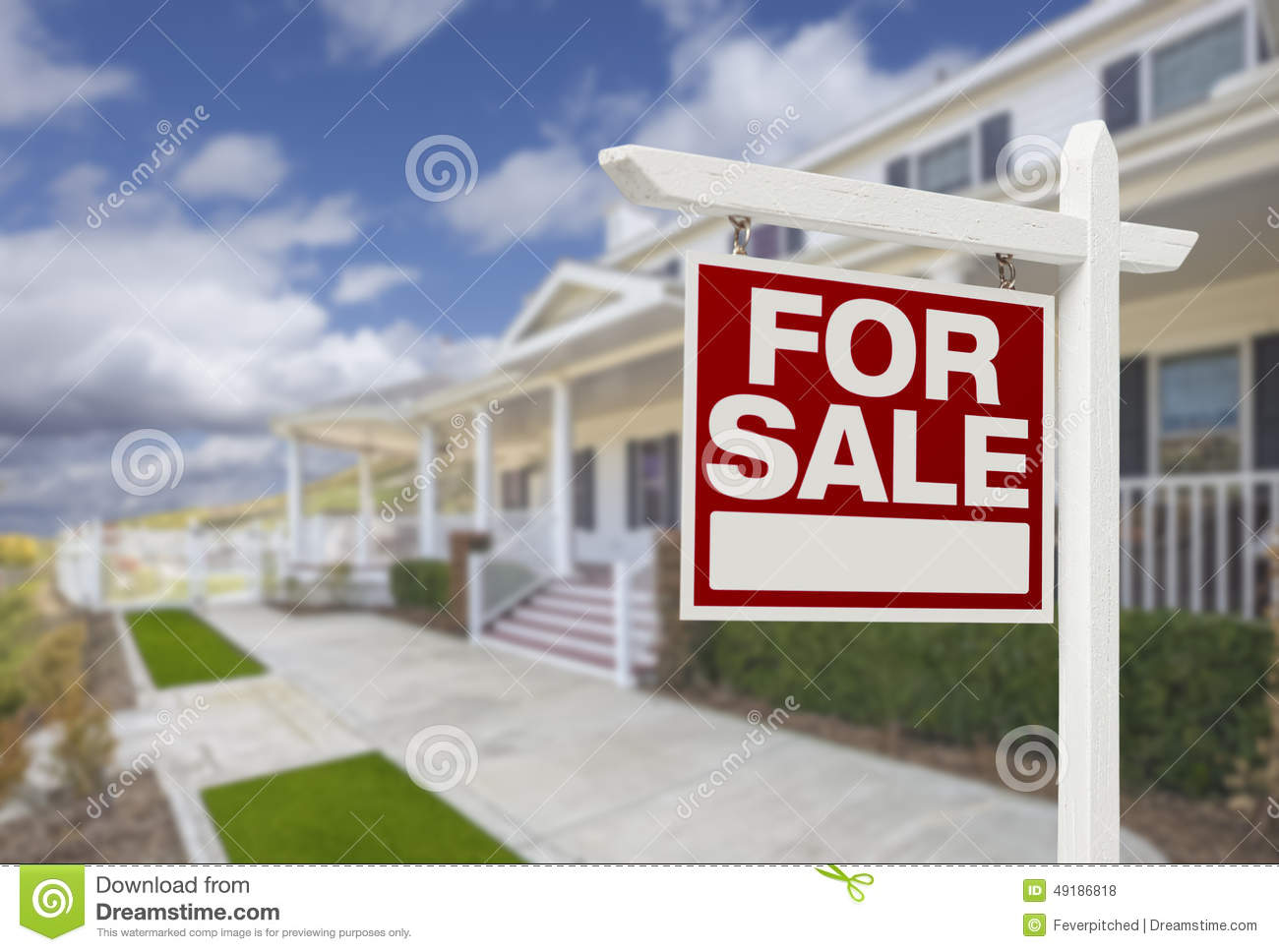 Home for sale real estate sign and house stock photo Beautiful real estate pictures