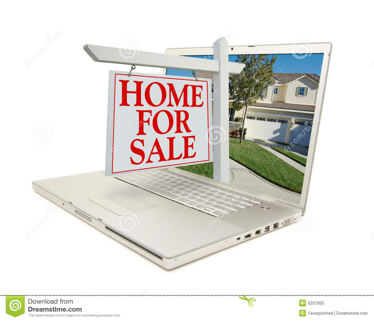 Home for sale sign new home on laptop royalty free for New home sign