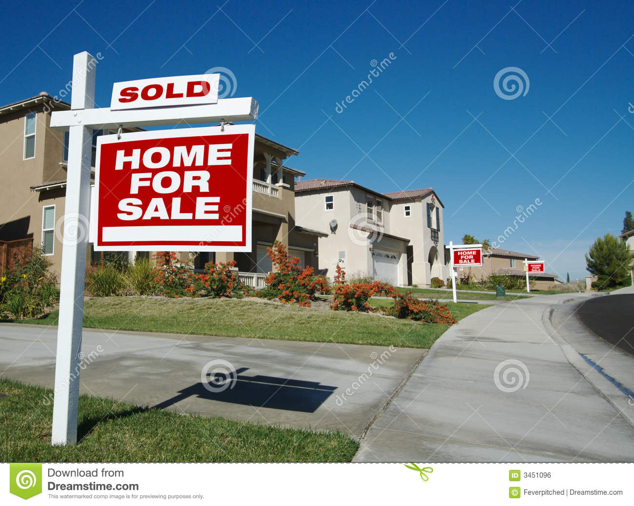 For Sale Sold Sign: Home For Sale Signs & One Sold Royalty Free Stock Image