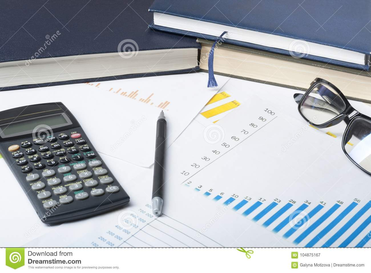 home savings budget concept chart accounting books pen