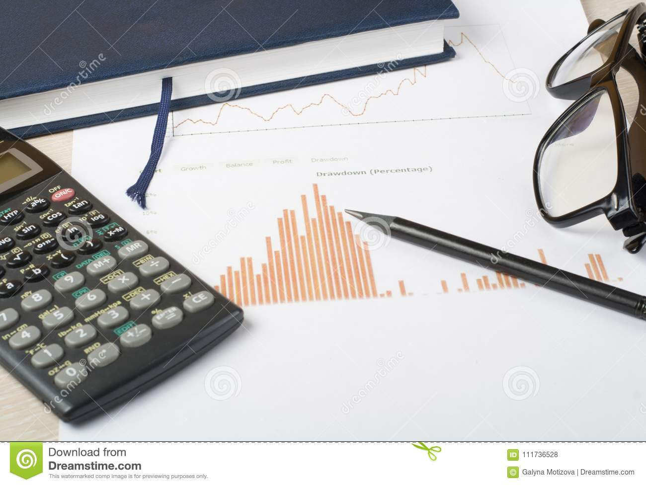 home savings budget concept chart notepad calculator and glasses