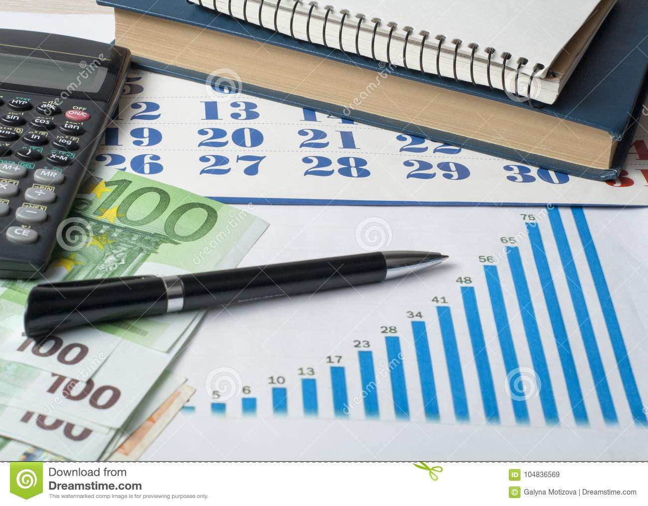 home savings budget concept chart pen calculator and coins on