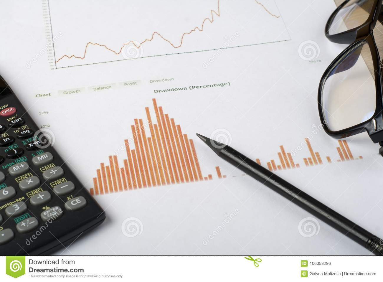 home savings budget concept chart pen calculator and glasses on
