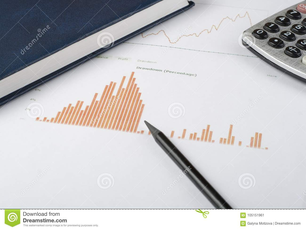home savings budget concept chart pen calculator and notepad on