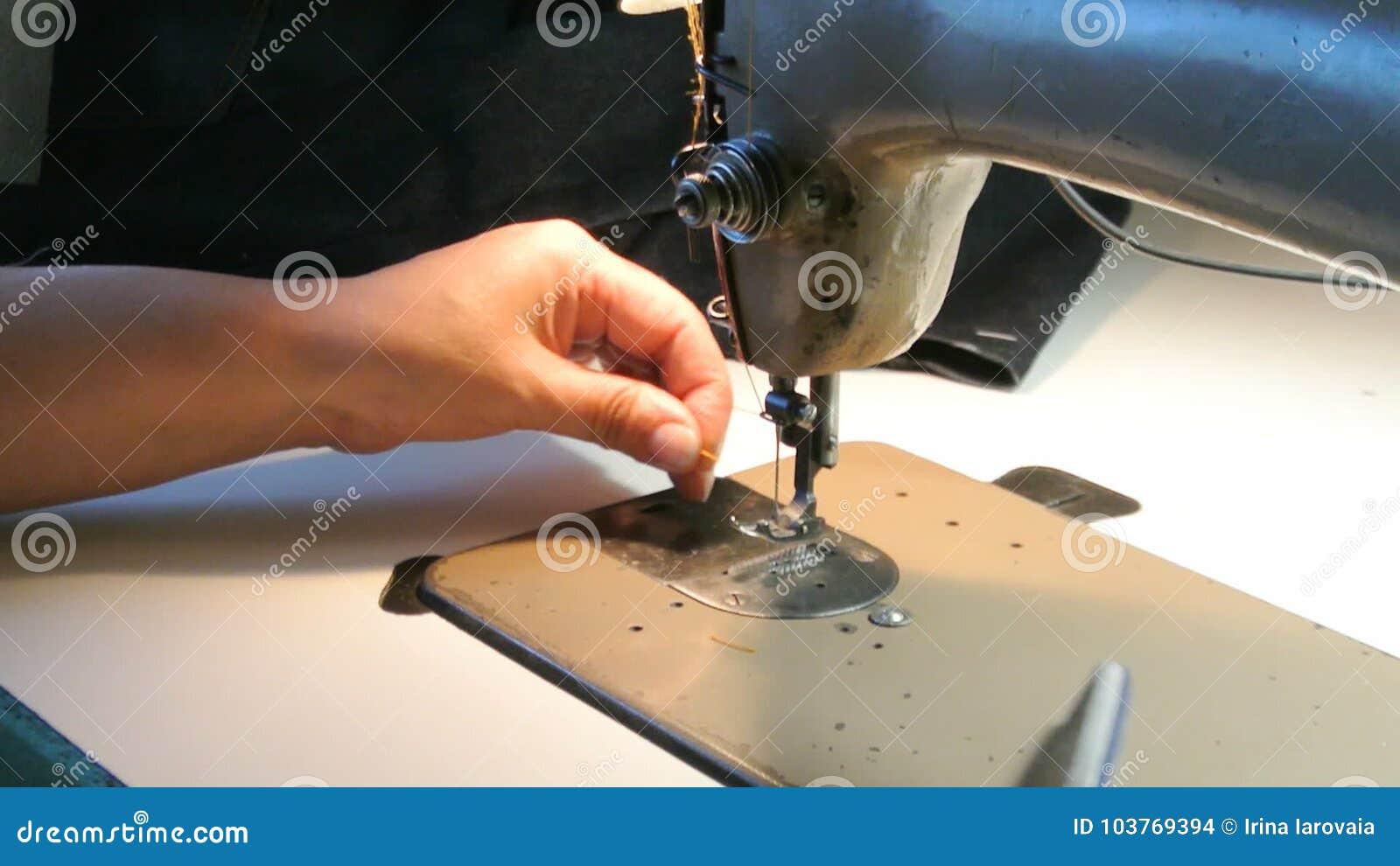 Home Seamstress Preparing The Sewing Machine To Work Dressmaker Custom How To Thread Dressmaker Sewing Machine