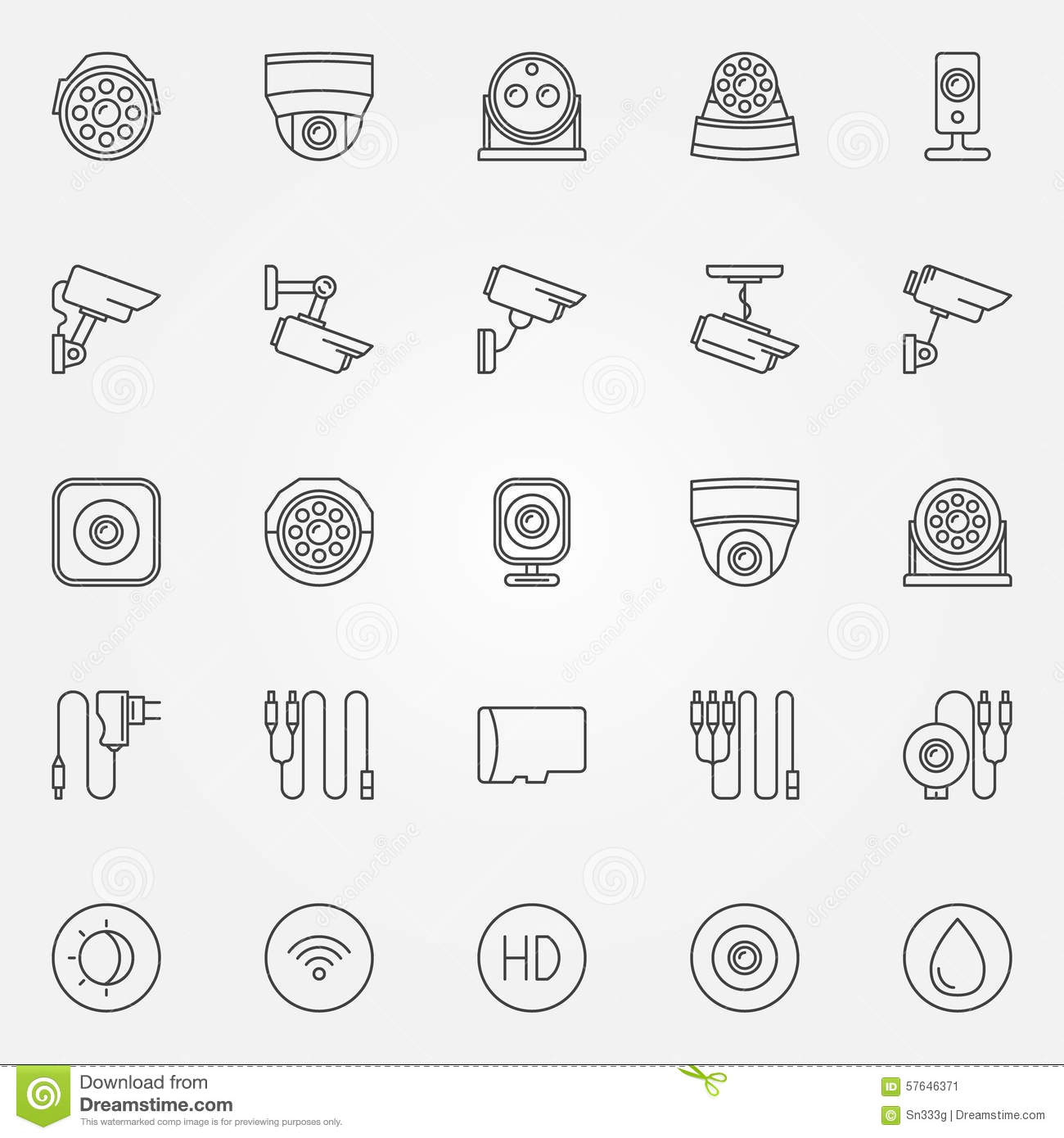 Home Security Cameras Icons Stock Vector Image 57646371